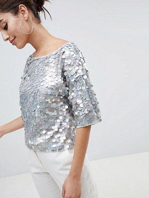 ASOS DESIGN Blommönstrad t-shirt i oversize med paljetter Gråmelerad