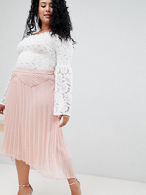 ASOS Curve Kurvor Plisserad dobbyvävd kjol med asymmetrisk längd prydnadsveck Nude