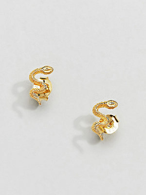 Kingsley Ryan örhängen Sterling Silver Gold Plated Snake Stud Earrings