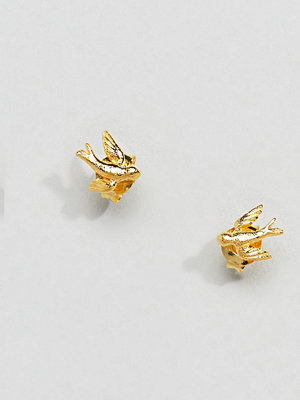 Kingsley Ryan örhängen Sterling Silver Gold Plated Swallow Stud Earrings