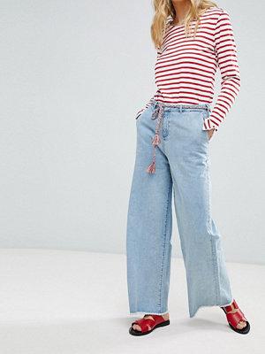Maison Scotch Raw Hem Wide Leg Jeans with Rope Belt - 1151 surf blue