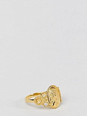 ASOS DESIGN pinky ring in gold plated sterling silver with vintage style icon