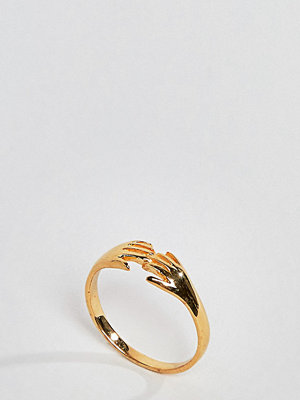 ASOS Curve ASOS DESIGN Curve ring in gold plated sterling silver in vintage style hand design