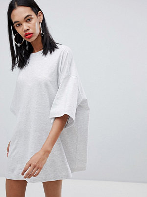 Weekday huge t-shirt dress in grey melange - Grey melange