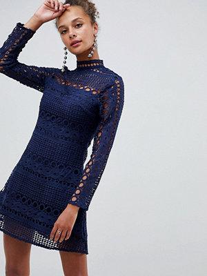 Parisian High Neck Long Sleeve Lace Skater Dress