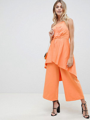 ASOS DESIGN occasion jumpsuit in structured fabric with overlay detail - Papaya