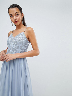 Chi Chi London cami strap maxi dress with premium lace