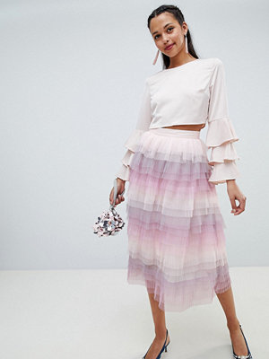 Chi Chi London tiered midi skirt - Pink multi