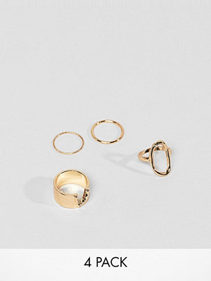 ASOS DESIGN pack of 4 rings with open shape design