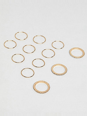 ASOS DESIGN pack of 12 fine rings with crystal