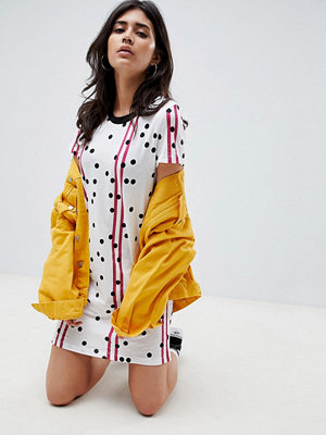 Noisy May Racer Stripe and Spot Print T-Shirt Dress - White/red/black
