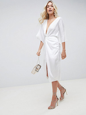 ASOS DESIGN midi knot front kimono dress in satin