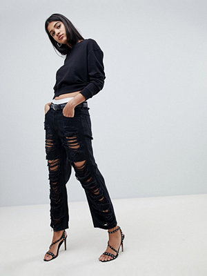 Diesel Aryel Mid Waist Mom Jean with Extreme Rips