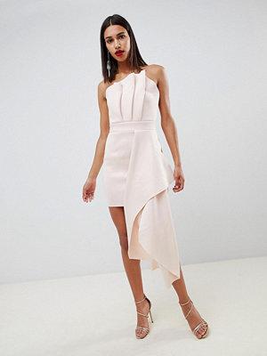 ASOS DESIGN premium scuba dramatic fold mini dress - Peony pink