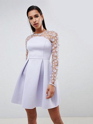 ASOS DESIGN 3D floral lace bandeau scuba prom mini dress - Lilac