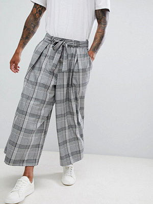 ASOS DESIGN wide trousers in grey check with tie waist