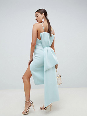 ASOS DESIGN premium u bar bow back bodycon midi dress - Aqua