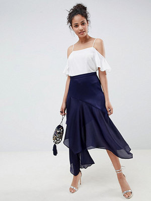 ASOS DESIGN satin tiered asymmetric hem midi skirt