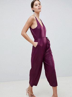 Ax Paris Jumpsuit i culotte-modell Plommonlila