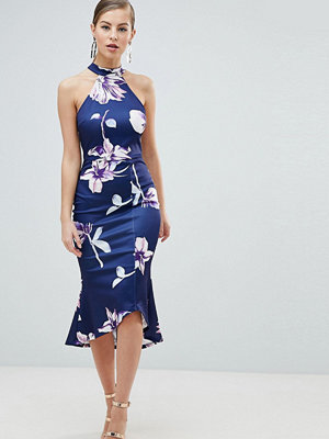 Ax Paris Pephem Midi Dress In Floral Print