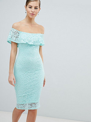 Ax Paris Off Shoulder Frill Overlay Lace Dress - Mint green