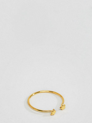 ASOS DESIGN gold plated sterling silver double star ring