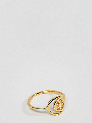 ASOS DESIGN gold plated sterling silver cut out eye motif ring