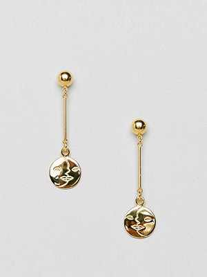 ASOS örhängen DESIGN gold plated sterling silver moon face drop earrings