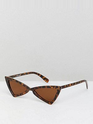 Glamorous tortoiseshell slim cat eye sunglasses - Tort