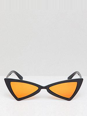 Glamorous slim black cat eye sunglasses with orange lens - Black with yellow