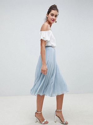 ASOS DESIGN pleated midi skirt - Dusty blue