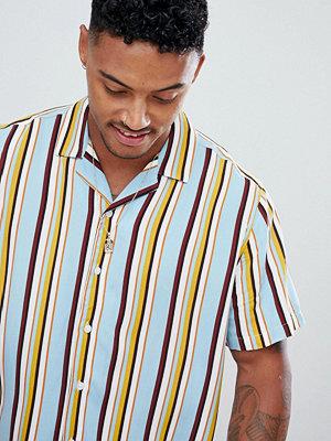 ASOS DESIGN oversized stripe shirt in light blue with revere collar