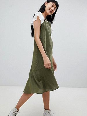 Pull&Bear cami linen dress in khaki - Khaki