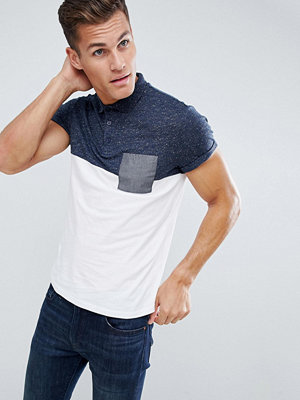 ASOS DESIGN polo shirt with roll sleeve and contrast pocket