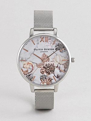Klockor - Olivia Burton OB16CS10 Marble Floral Mesh Watch in Silver & Rose Gold