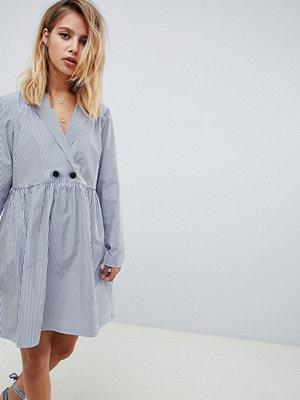 ASOS DESIGN cotton smock mini dress in shirting stripe
