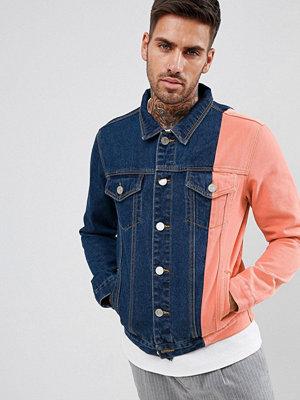 Jeansjackor - boohooMAN colourblock denim jacket in blue wash - Indigo