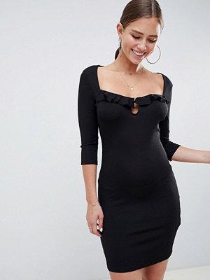 ASOS DESIGN rib mini dress with frill neck