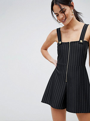 ASOS DESIGN square neck jersey playsuit in stripe with gold trim detail
