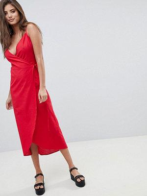 ASOS DESIGN cami wrap linen maxi slip dress