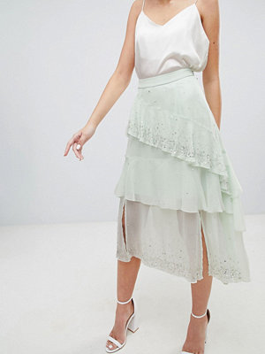 ASOS DESIGN embellishment asymmetric ruffle high low midi skirt - Mint