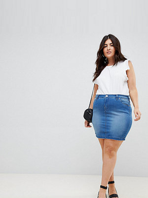 Zizzi denim mini skirt - Light blue denim