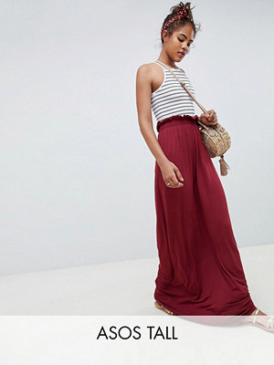 ASOS DESIGN Tall maxi skirt with paperbag waist - Burgundy