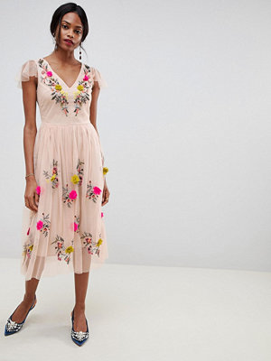 Oasis midi dress with floral embroidery in pink