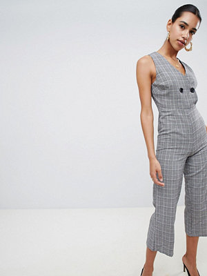 Boohoo Button Detail Check Culotte Jumpsuit