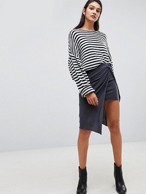 AllSaints jersey wrap midi skirt - Washed black