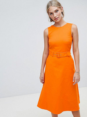 Warehouse compact cotton buckle dress - Orange squash