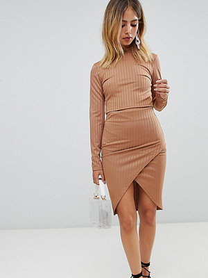 Boohoo Ribbed Wrap Midi Skirt - Caramel