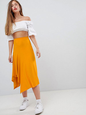 Bershka slinky midi skirt - Yellow