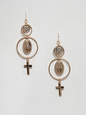 New Look örhängen Coin And Cross Earrings